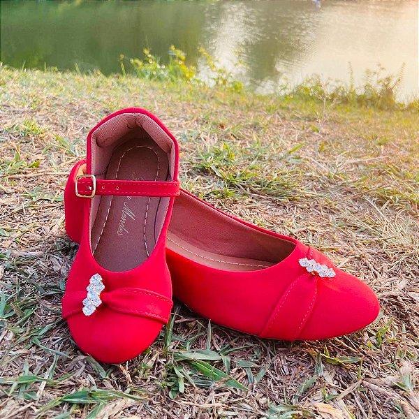Sapatilha Napa Vermelha Bico Redondo com Enfeite