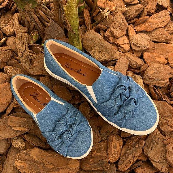 Tenis Iate Jeans Azul com Laço