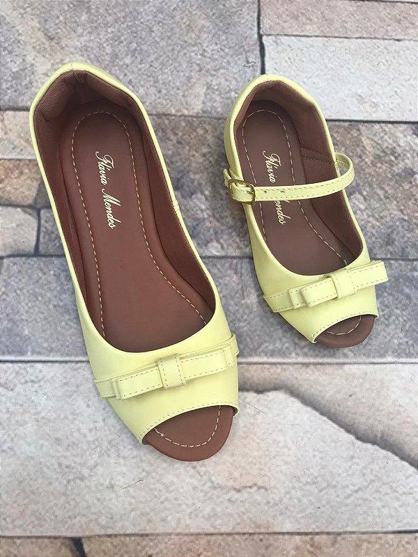 Peep Toe Napa Amarelo Bico Redondo com Laço Nó