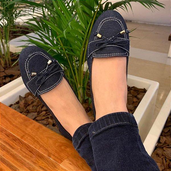 Mocassim Adulto Jeans Azul com Lacinho Bico Redondo