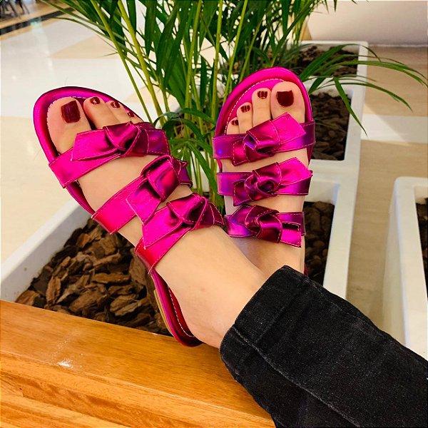 Rasteirinha Laços  Adulta Sintetico Rosa Pink