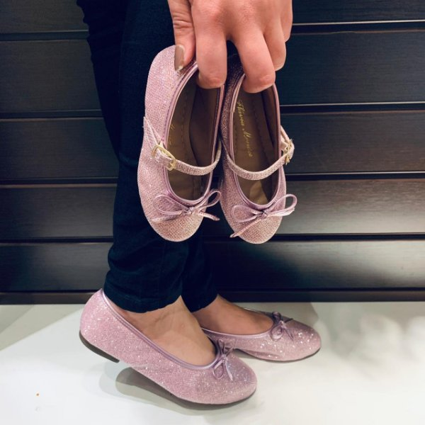 Sapatilha Tecido Especial Rosa Pink com Lacinho Bico Redondo