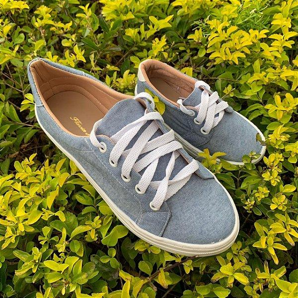 Tenis Jeans com Cardaço Azul