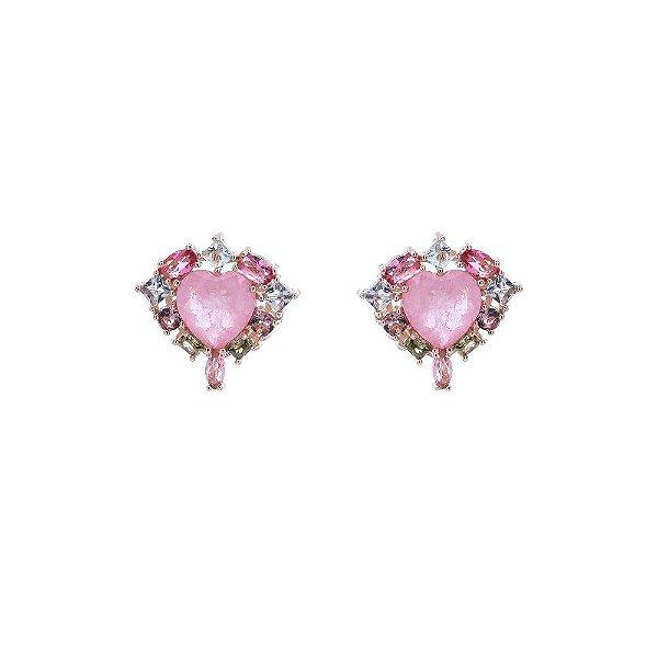 Brinco coração quartzo rosa