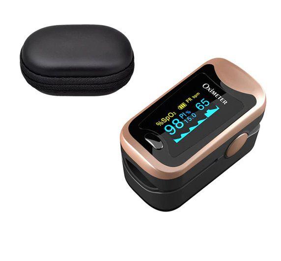 Oximetro de Dedo Medidor SpO2 Batimentos Cardíacos e Monitor de Sono Com Case