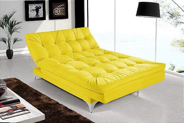 Sofá Cama 3 Lugares Versátil Veludo Amarelo