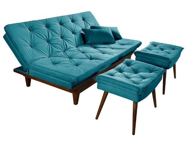 Sofa Cama Reclinavel Caribe + Duas Banquetas Rubi Essencial Azul Turquesa