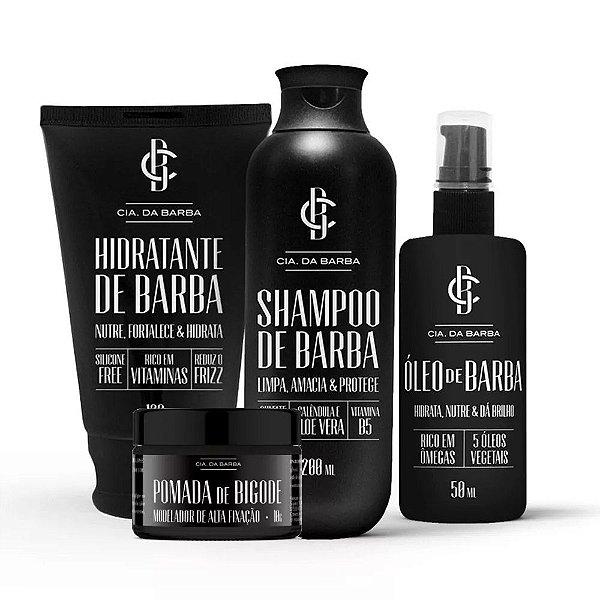 Kit Cia. da Barba - Hidratante + Óleo + Shampoo + Modelador de Barba
