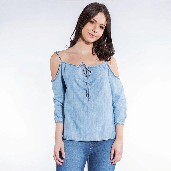 Blusa Jeans Boho com Amarração no Decote