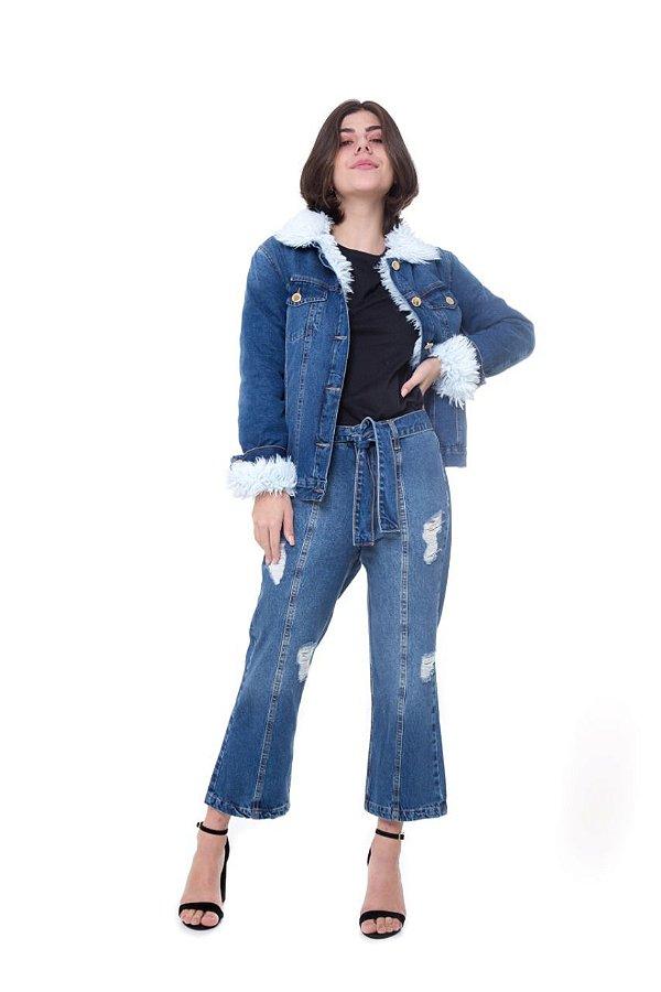 Jaqueta Rosa Line Jeans Forrada