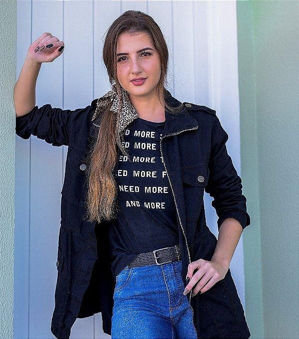 Parka Color Rosa Line jeans Preta