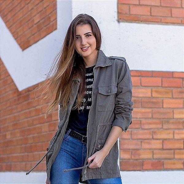 Parka Color Rosa Line jeans Com Zíper Verde Militar