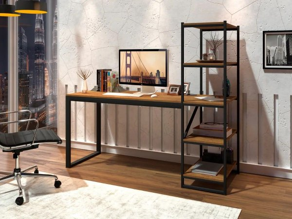 Mesa Escrivaninha Com Prateleiras Home Office Preto e Canela Rústico