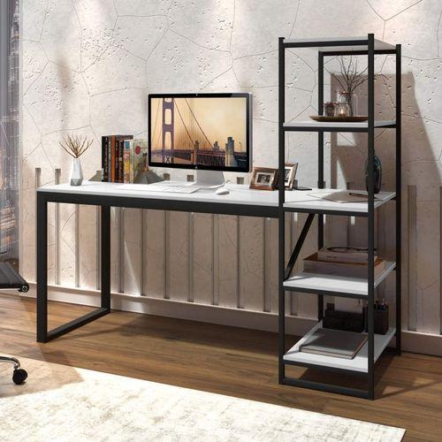 Mesa Escrivaninha Com Prateleiras Home OfficePreto - Branco