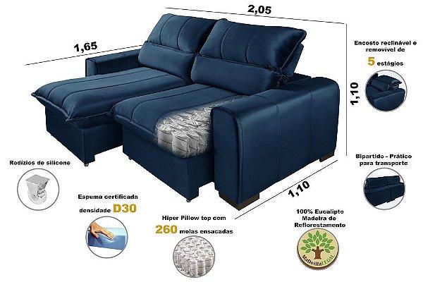 Sofá Reclinável Retrátil Premium Dubai Com Molas Ensacadas 2,05m