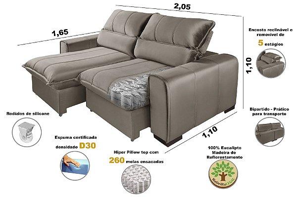 Sofá Com Molas Ensacadas Retrátil Reclinável Premium Dubai 2,05m