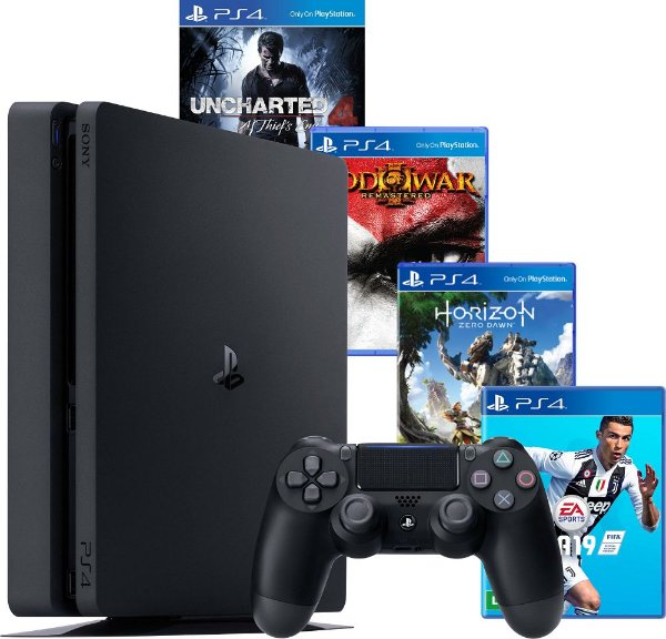 PS4 - Console Playstation 4 Slim - HD 500 Gb + 4 Jogos