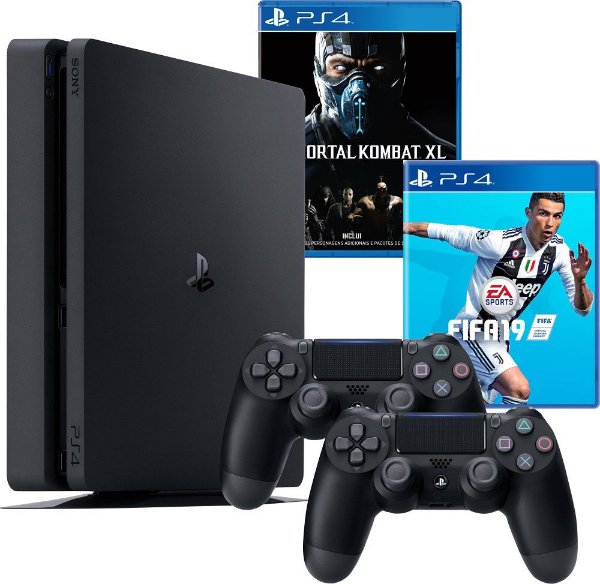 Console Playstation 4 500GB Slim Com Dois Controles + 2 Jogos
