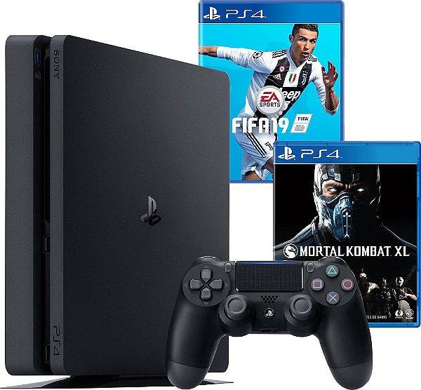 Console PS4 Slim 500GB Slim + Fifa 19 + Mortal Kombat XL