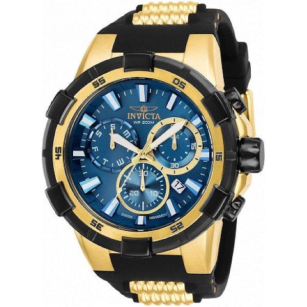 Relógio Invicta Aviator 25858 Masculino 51,5 MM Dourado Com Preto