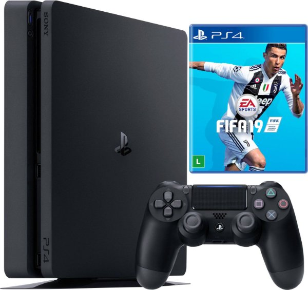 Console Sony PlayStation 4 - 500 GB Preto 2115A Slim + Fifa 19