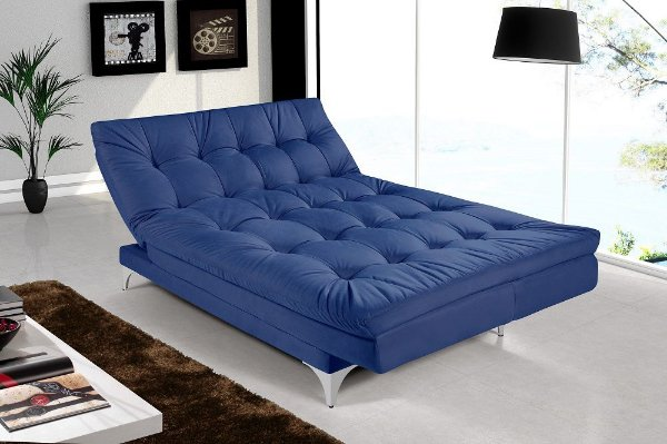 Sofá Cama 3 Lugares Versátil Veludo Azul Marinho