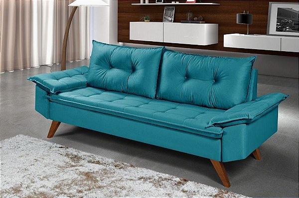 Sofá Azul Turquesa Bariloche 3 Lugares em Suede Essencial Estofados