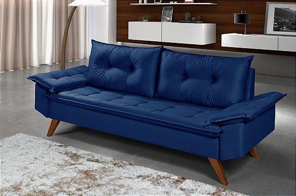 Sofá Azul Marinho 3 Lugares Bariloche em Suede Essencial Estofados