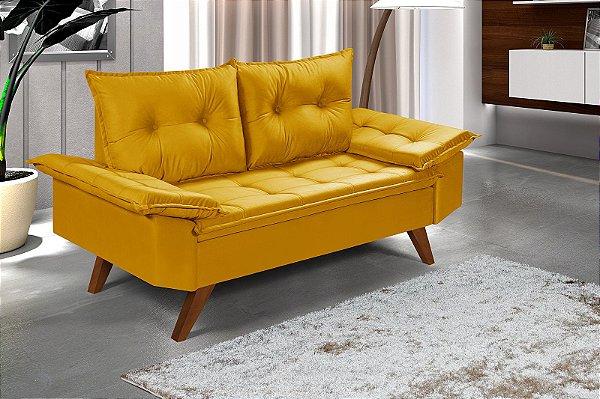 Sofá Amarelo Bariloche 2 Lugares em Suede Essencial Estofados
