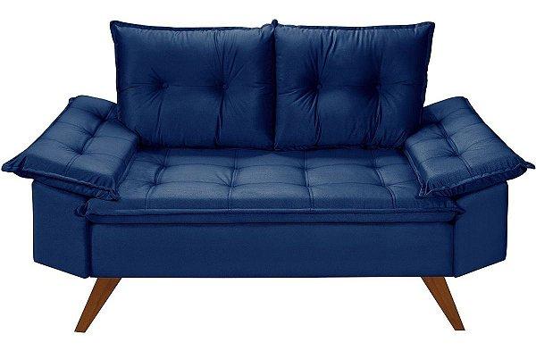 Sofá Azul Marinho 2 Lugares Bariloche em Suede Essencial Estofados