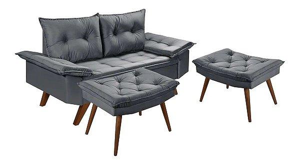 Sofa 2 Lugares Bariloche Com Duas Banquetas Rubi em Suede Essencial Estofados