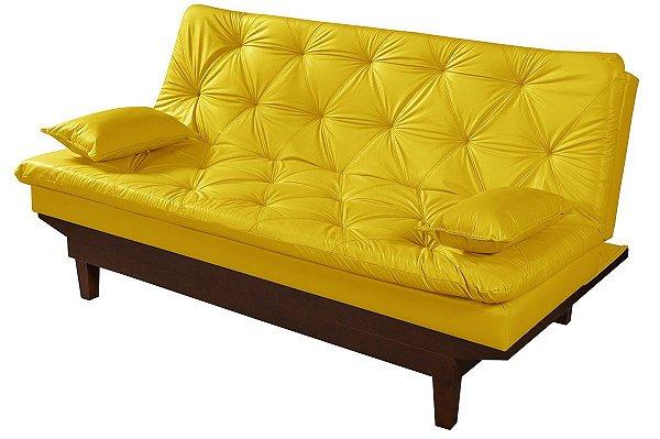 Sofá Cama Courino Amarelo Caribe Reclinável 3 Posições Essencial Estofados