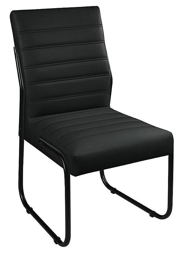 Cadeira Escritório ou Sala de Jantar em Couro Sintético Pés em Aço na Cor Preta - Jade
