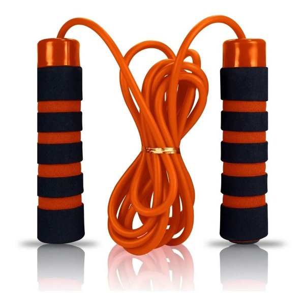 Corda de Pular Com Rolamento Treino Funcional Academia Exercicios Jump Rope Premium Laranja