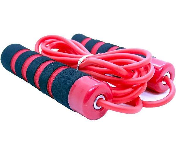Corda de Pular Com Rolamento Treino Funcional Academia Exercicios Jump Rope Premium Vermelha