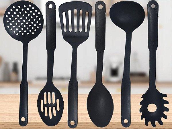 Kit 6 Peças Utensílios Cozinha Nylon Preto Resistente