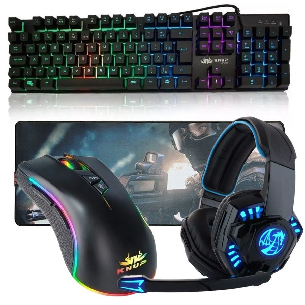 Kit Gamer Teclado Semi Mecanico Mousepad Mouse Headset 706 Dragon