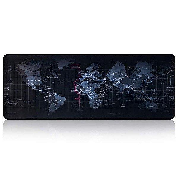 Mousepad Gamer Borda Costurada Grande 70 X 35 Mapa Mundi Premium