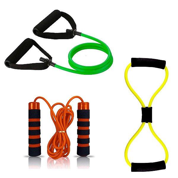 Kit 2 Elasticos Extensores Multifuncional Exercicio e Corda de pular com rolamento