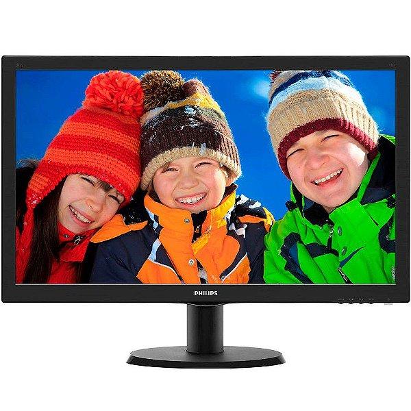 Monitor Philips LCD Tela de 23.6´ Full HD, 8ms, VGA/DVI/HDMI, SmartControl Lite - 243V5QHABA