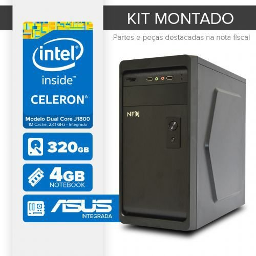 Kit montado Processador Intel Dual Core J1800 / 4GB de RAM / 320GB de HD / MB ASUS / 1 serial / Linux