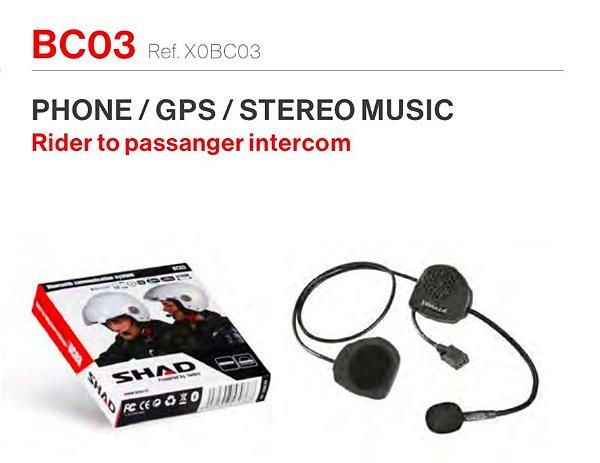 INTERCOMUNICADOR BC03 INDIVIDUAL PARA PILOTO OU GARUPA PAREÁVEL COM INTERCOMUNICADORES SHAD - TELEFONE, GPS E MÚSICA ESTÉREO
