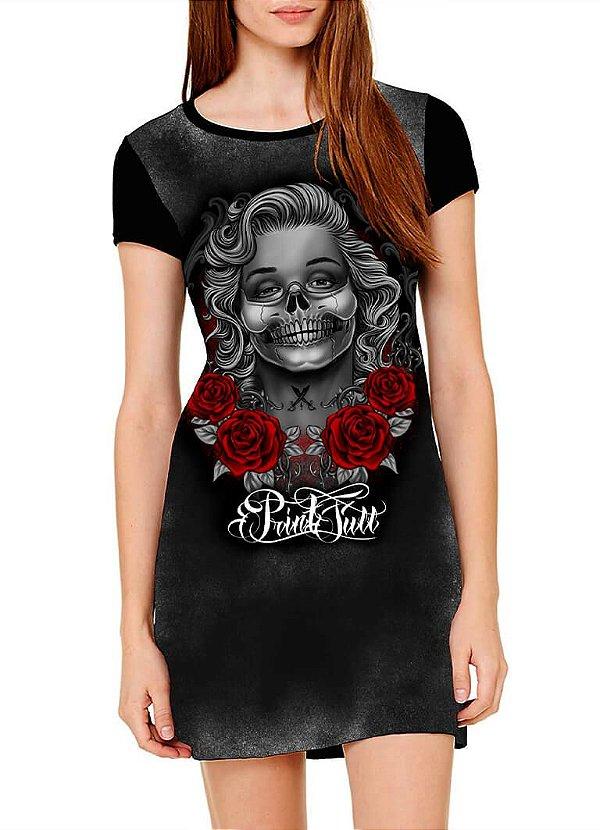 Vestido Printfull tipo camiseta t-shirt dress  Monroses Skull