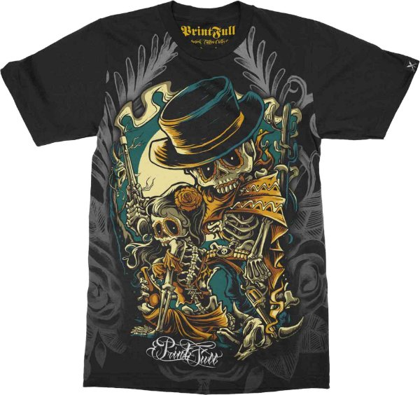 Camiseta Printfull Bone Bandits - cor preta