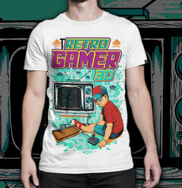Camiseta Printfull Retro Gamer 3D