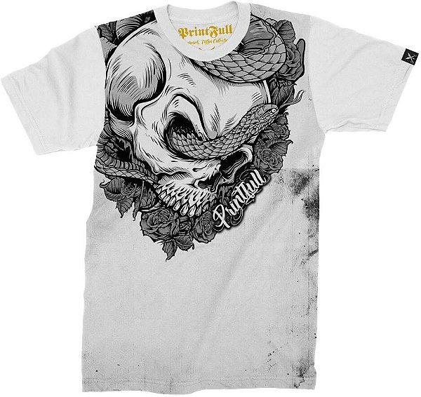 Camiseta Printfull Skull and Snake