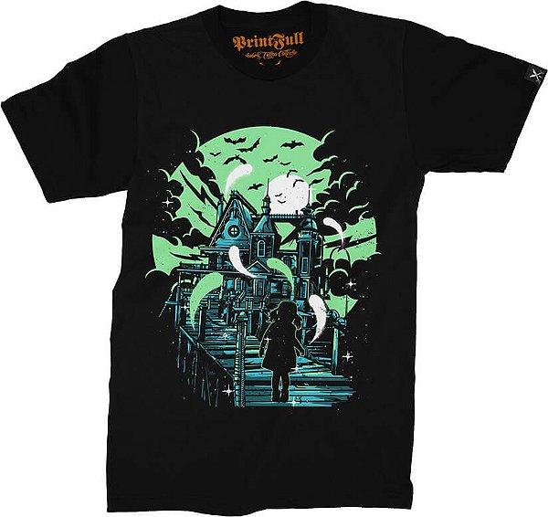 Camiseta Printfull Haunted House