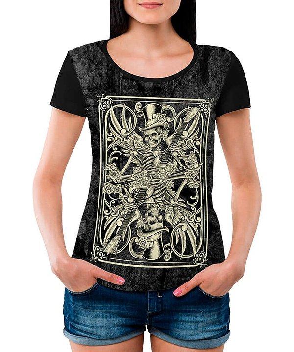 Camiseta Feminina Printfull Skeleton Playing Card