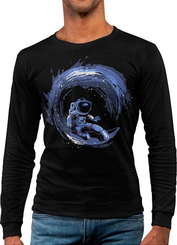 Camiseta Manga Longa Printfull Surfing in Space - masculina
