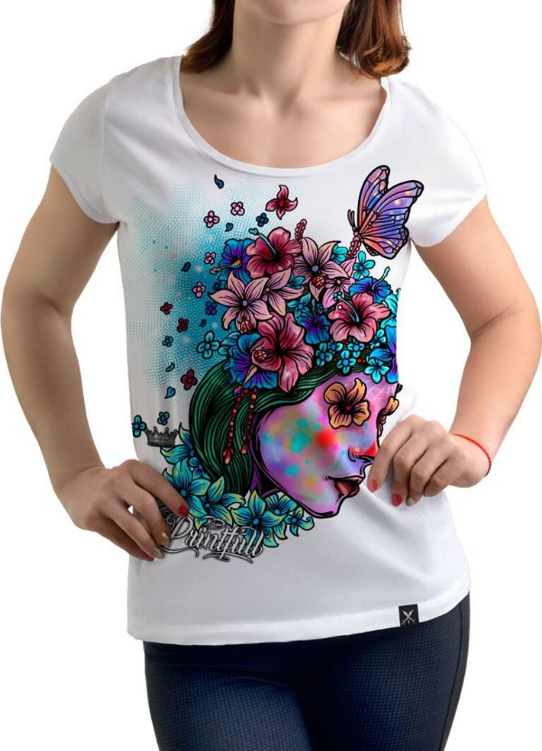 Camiseta Printfull Lady and Flower - feminina